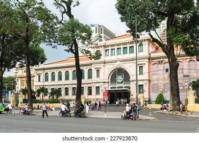 HO CHI MINH, VIETNAM - OCT 5, 2014: Post office in Hochiminh (Saigon). Saigon is the largest city in Vietnam