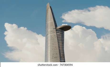 HO CHI MINH, VIETNAM - OCTOBER 13, 2016: Bitexco Financial Tower in Saigon Ho Chi Minh City Vietnam in the blue sky. The tower has the shape of lotus with height of 262.5 meters