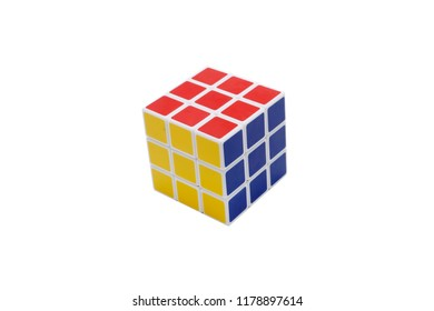 Ho Chi Minh, Vietnam - September 12, 2018: Rubik's 3x3 cubes with various shapes are isolated on a white background
