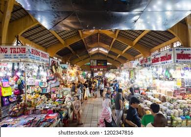Ho Chi Minh, Vietnam - September 26, 2018: Laneway within Ben Thanh Market in Saigon, Vietnam
