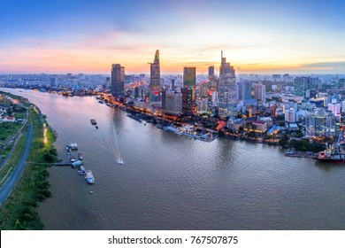 HO CHI MINH, VIETNAM-DEC 01,2017: Aerial view of Bitexco Financial Tower  building, Century Link, train tracks, buildings, roads, and Saigon river in Ho Chi Minh city.High quality stock image panorama
