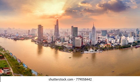 HO CHI MINH, VIETNAM-DEC 19,2017: Aerial view of Bitexco Financial Tower  building, Century Link, train tracks, buildings, roads, and Saigon river in Ho Chi Minh city.High quality stock image panorama