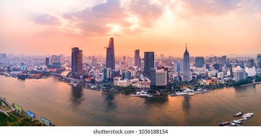 HO CHI MINH, VIETNAM-FEB 01,2018: Top view aerial photo from flying drone of a Ho Chi Minh City with development buildings, transportation, energy power infrastructure. Financial and business centers
