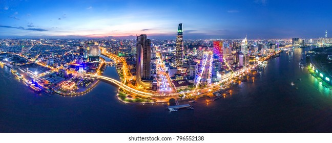 HO CHI MINH, VIETNAM-JAN 01,2018: Aerial view of Bitexco Financial Tower  building, Century Link, train tracks, buildings, roads, and Saigon river in Ho Chi Minh city.