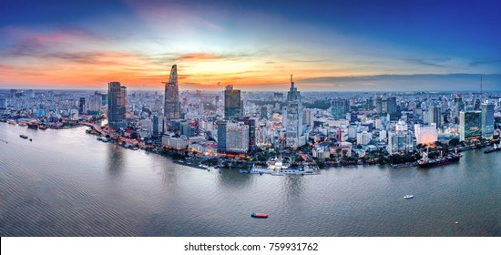 HO CHI MINH, VIETNAM-NOV 20, 2017:Aerial view of Bitexco Financial Tower  building, Century Link, train tracks, buildings, roads, and Saigon river in Ho Chi Minh city.High quality stock image panorama