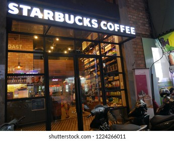 Ho Chi Minh, Vietnam-September 30, 2018: view of Starbucks Coffee. People use the service in the restaurant area.