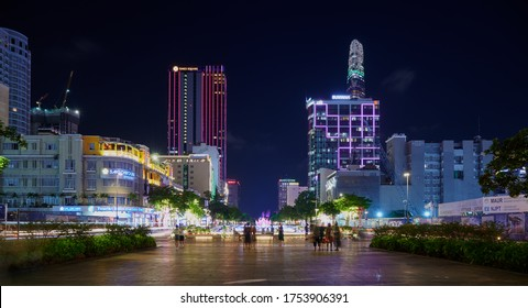 Ho Chi MInh, Vietnem - MAR 13, 2020: Nguyen Hue Street alive, day and night