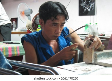 Ho Chi Minh/Vietnam: 8th December 2012- Locals are offered job opportunity in handicraft factory.  Most of the them are from rural area.