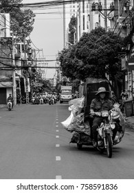 Ho Chi Minh/Vietnam April 28 2017 : Traffin in the old Saigon