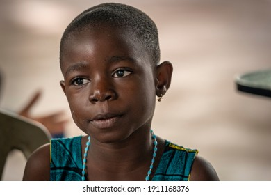 Ho, Ghana - September 16, 2008: A closeup photo shows a little African girl from Ghana, West Africa.