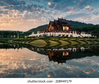 Ho kham luang northern thai style building in royal flora expo,Chiangmai Thailand