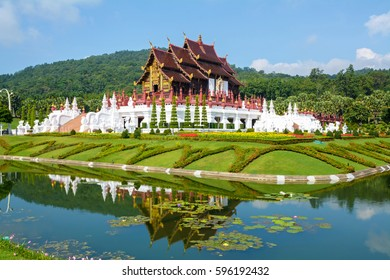 Ho Kham Luang at Royal Flora Expo, traditional Thai architecture in the Lanna style, Chiang Mai, Thailand