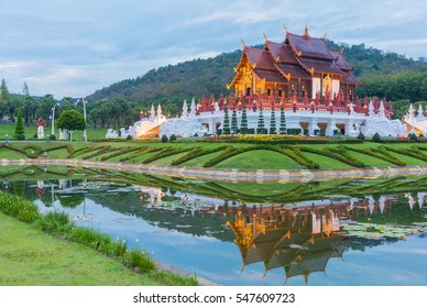 Ho kham luang (Royal Pavilion) northern Thai style building in Royal Flora International Horticulture Exposition(Ratchaphreuk)in Chiang Mai,Thailand.