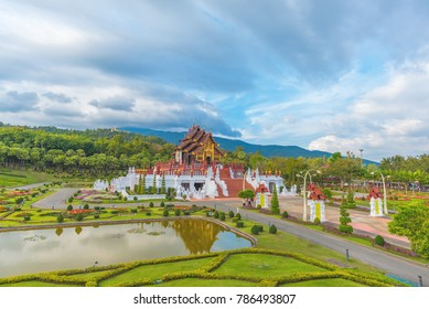 Ho kham luang (Royal Pavilion) northern Thai style building in Royal Flora International Horticulture Exposition(Ratchaphreuk)in Chiang Mai,Thailand.(vertical)