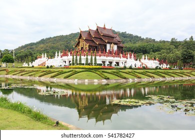 Ho Kum Luang  thai architecture in the Lanna style refection by water , Royal Pavilion  at Royal Flora Chiang Mai, Thailand