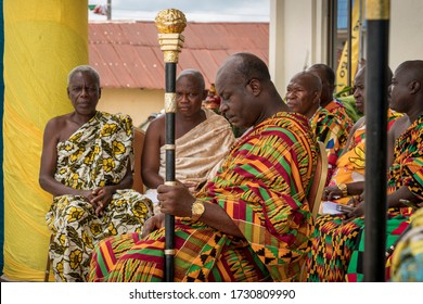 Ho, Volta / Ghana - September 14, 2018: A Paramount Chief bows his head in prayer as Chiefs and Kings sit in state at the Yam Festival in Ho, Ghana, West Africa.