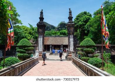 Hoa Lu, Vietnam - Augst 18, 2015: Temple of Dinh Tien Hoang at Hoa Lu, the ancient capital of Vietnam. It is a popular tourist destination in Ninh Binh Province.