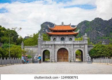 HOA LU, VIETNAM - NOVEMBER 15, 2018:  Temple of Dinh Tien Hoang at Hoa Lu Ninh Binh, first capital of Vietnam. Popular tourist destination in Ninh Binh Province.