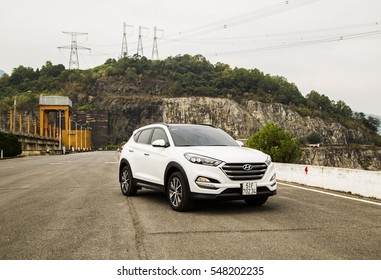 Hoabinh, Vietnam - Nov 29, 2016: Hyundai Tucson all-new 2016 model on test road in test-drive, Vietnam. Hyundai, the automotive industry's fifth largest automobile manufacturer in the world.
