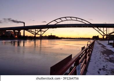 Hoan Bridge in Milwaukee, Wisconsin After Sunset
