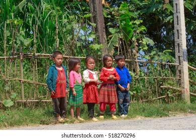 Hoang Su Phi, Ha Giang province, Vietnam - September 29, 2016 : a group of ethnic minority children congregate outdoor in Hoang Su Phi, Ha Giang province, Vietnam