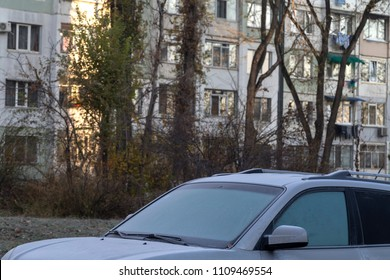 Hoarfrost covered the car. Autumn came to the city and made trouble for drivers.