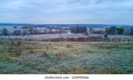 Hoarfrost covered Zhizdra River valley panorama at dawn