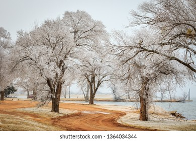 Hoarfrost on the shores of Lake Hefner in Oklahoma City, OK, USA