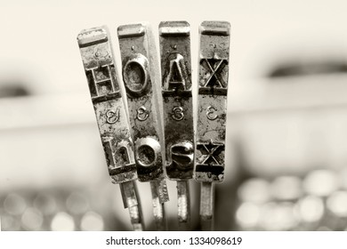 HOAX with old typewriter hammers in monochrome