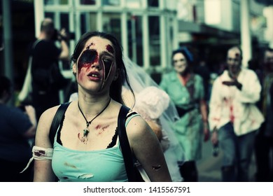 HOBART, AUSTRALIA - 25/08/2013: Participant in Hobart's annual zombie march