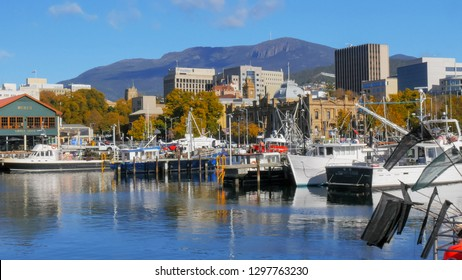HOBART, AUSTRALIA - APRIL 16, 2015: a wide view of fishing vessells at victoria dock in the tasmanian capital city of hobart on a fine autumn day with mt wellington in the distance