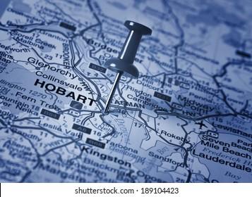 Hobart  in Australia in the map