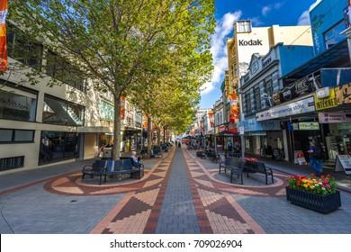 Hobart, Australia - Mar 20, 2017: Pedestrian Elizabeth Street mall in the city