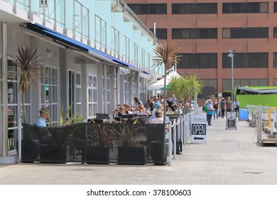 HOBART AUSTRALIA - MARCH 15, 2014: Unidentified people dine at Elizabeth St Pier - Hobart is the state capital of Tasmania and Australia's second oldest capital city after Sydney.