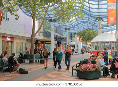 HOBART AUSTRALIA - MARCH 15, 2014: Unidentified people shop in Elizabeth street shopping mall - Elizabeth street is the center of commercial district of Hobart.