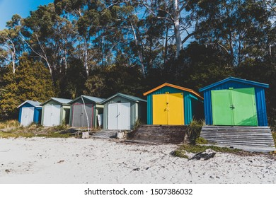 HOBART, AUSTRALIA - September 9th, 2019: the typical colorful beach huts of Conningham Beach in Tasmania