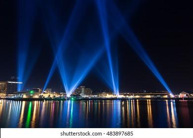 Hobart, Australia-June 12, 2014. Electronic artist Rafael Lozano-Hemmers stunning interactive installation Articulated Intersect  illuminates the Hobart skies during the 2014 Dark Mofo festival
