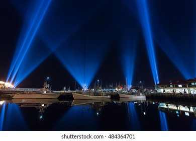 Hobart, Australia-June 21, 2014. Electronic artist Rafael Lozano-Hemmers stunning interactive installation Articulated Intersect  illuminates the Hobart skies during the 2014 Dark Mofo festival