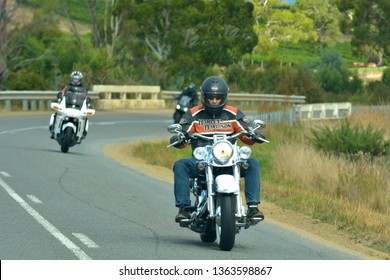 HOBART - MAR 17 2019:Bikers group during a road trip.Tasmania Australia is home to one of the oldest continuing motorcycle clubs in the world the Tasmanian Motorcycle Club established in 1905.