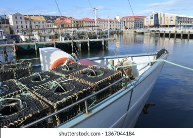 HOBART - MAR 20 2019:Fishing boats in Constitution Dock in Hobart the capital city of Tasmania, Australia.Tasmania produces more seafood by value than any other Australian State