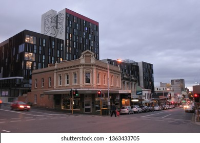 HOBART - MAR 20 2019:Hobart cityscape at dusk. Hobart is the capital city of the state of Tasmania Australia.