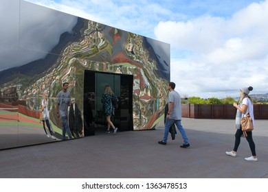 HOBART - MAR 20 2019:Visitors at Mona Museum of Old and New Art in Hobart Tasmania, Australia.