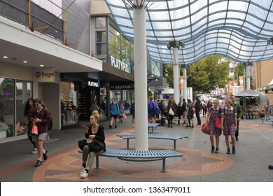 HOBART - MAR 21 2019:Elizabeth Street Mall, the largest shopping area in the Hobart city centre Tasmania Australia.