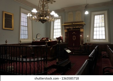 HOBART - MAR 21 2019:Hobart Synagogue interior. The synagogue is the oldest synagogue building in Australia and is a rare example of the Egyptian Revival style of synagogue architecture