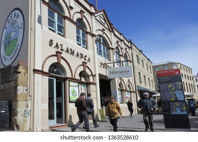 HOBART - MAR 25 2019:Salamanca Place, a popular tourist attraction in Hobart capital city of Tasmania, Australia.