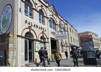 HOBART - MAR 25 2019:Salamanca Place, a popular tourist attraction in Hobart capital city of Tasmania, Australia.