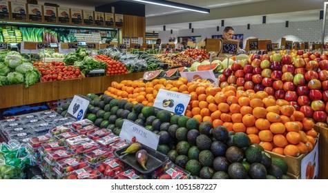 Hobart, TAS/Australia-Sept 11th 2016: Fresh fruits and vegetables displayed in a supermarket.