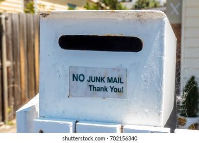Hobart, Tasmania, Australia - 0 January 2017: letterbox with no junk mail sticker