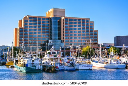 Hobart, Tasmania, Australia - Feb. 4, 2017: Hotel Grand Chancellor - It is a hotel by the waterfront in Hobart, Tasmania, Australia.