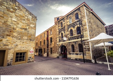 Hobart, Tasmania, Australia - Mar 20, 2017: Salamanca street shopping precinct